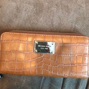Michael Kors brown faux crocodile wallet